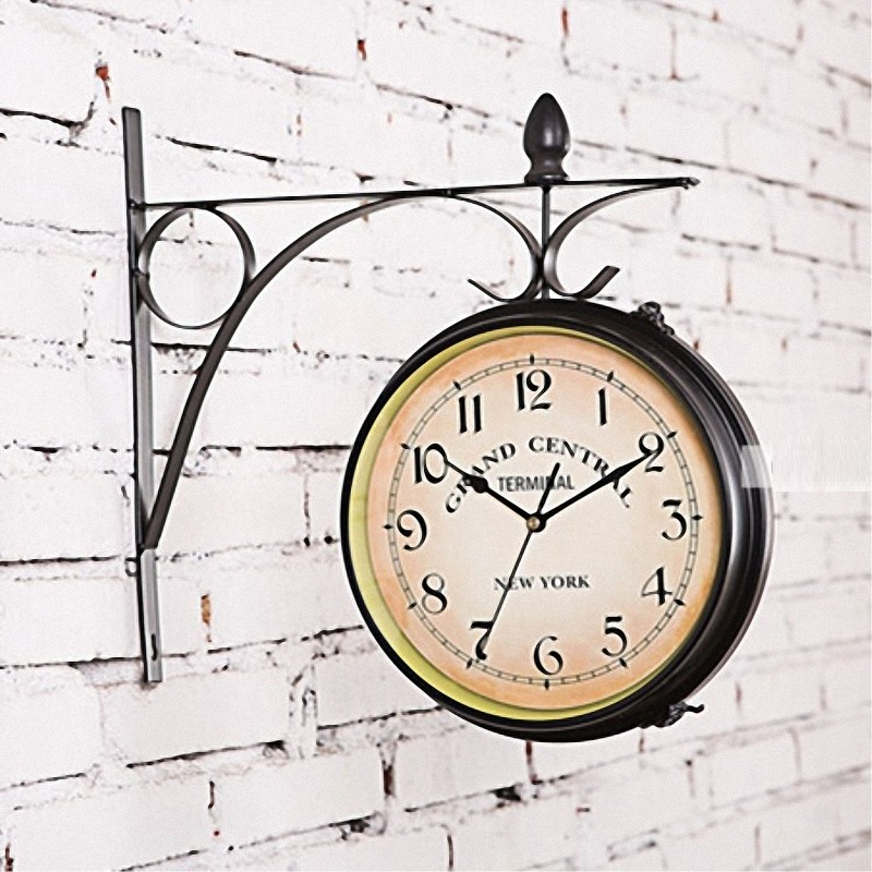 European Style Retro Double Sided Wall Clock Outdoor Home Garden Iron Hanging Clock Wall Mounted Decoration
