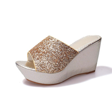 Sequine Women Casual High Heel Wedge Skid Slippers Summer Lady Sandals Black Gold Silver Bling Slides Shoes Platform Slippers bling bling high heel crystal decked slide sandal gorgeous glittering slippers summer women shoes sexy black outside slippers