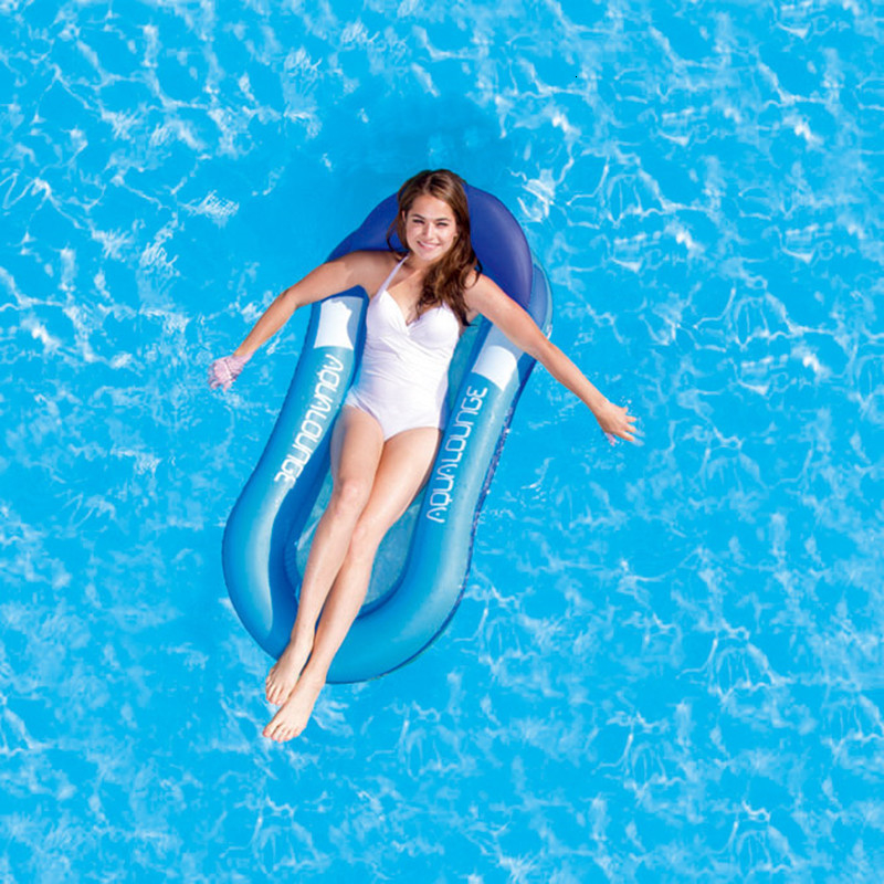 Inflatable Floating Row Chair Lounge Pool Floats Beach Single Air Mattress for Swimming Water Sports Floating Sleeping Bed Chair (1)