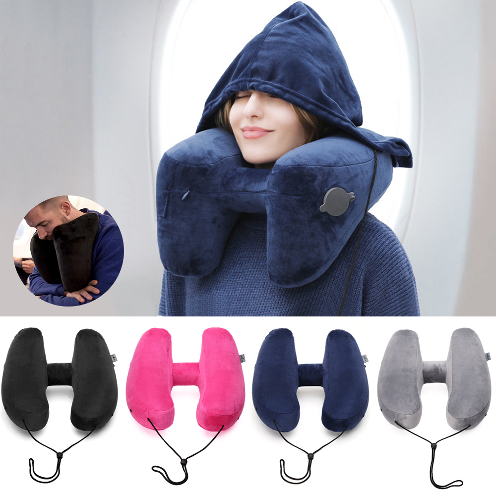 H-shaped Inflatable Travel Pillow With Hat Air Cushion Folding Lightweight Nap Neck Pillow Office Car Airplane Sleeping Cushion image