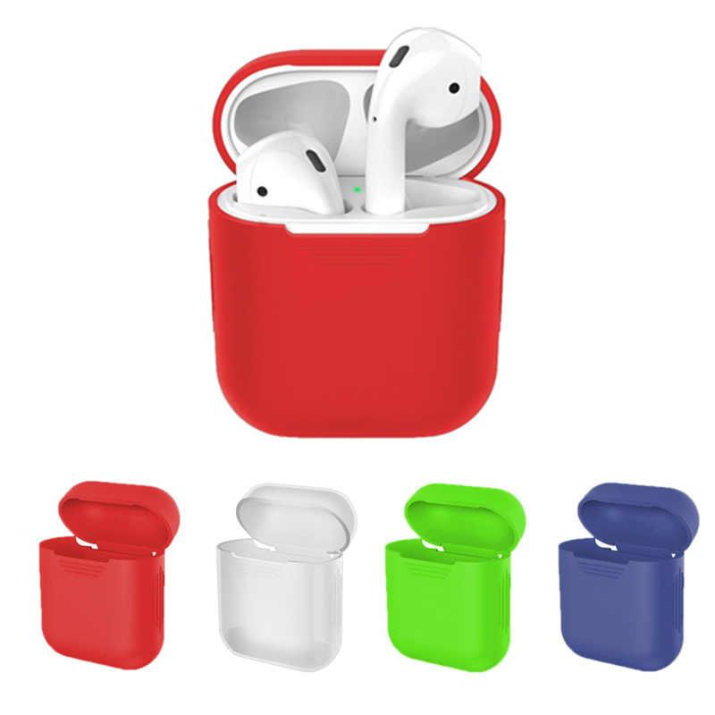 Miękki futerał silikonowy słuchawki dla Apple Airpods słuchawki bezprzewodowe z bluetooth pokrywy skrzynka na poduszki powietrzne 1 niebieski ząb ucha strąków torba