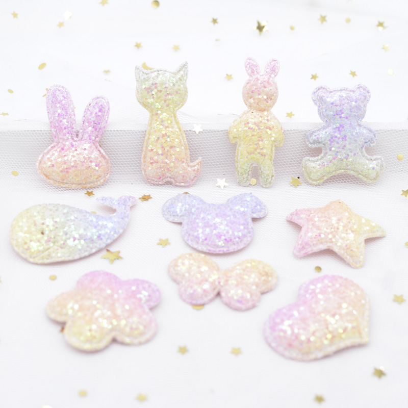 10pcs Glitter Fabric Applique Butterfly Mouse Star Flower Heart Rabbit Bear Cat Fish Baby Patches for DIY Hair Clips Decor H75(China)