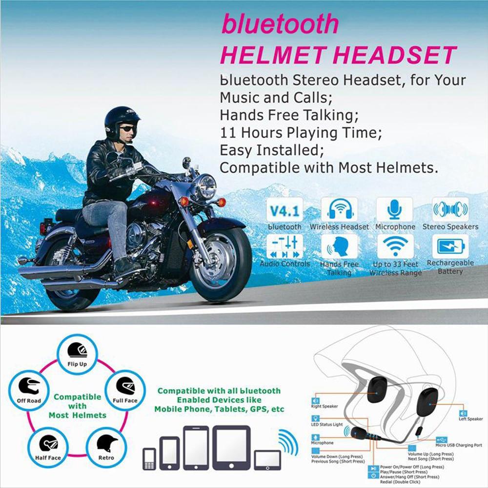 50M Waterproof Moto Bluetooth Wireless Anti-interference Helmet Headset Hands Free Bluetooth V4.2 Intercom For Motorcycle