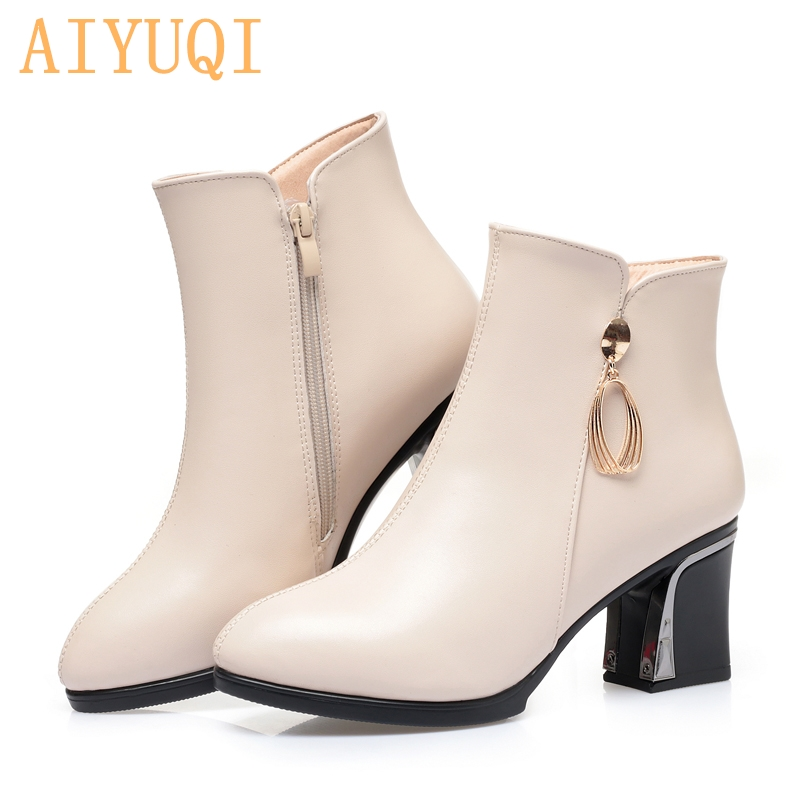 AIYUQI Women winter shoes Women Winter Boots Pointed Genuine Leather High-Heel Women's Dress Boots  Large Size 41 42 43