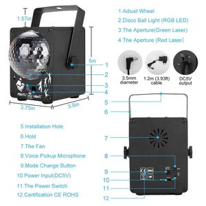Image 4 - Dj 레이저 rgb 무대 조명 프로젝터 led 효과 램프 디스코 크리스마스 휴일 바 조명 파티 실내 램프 원격