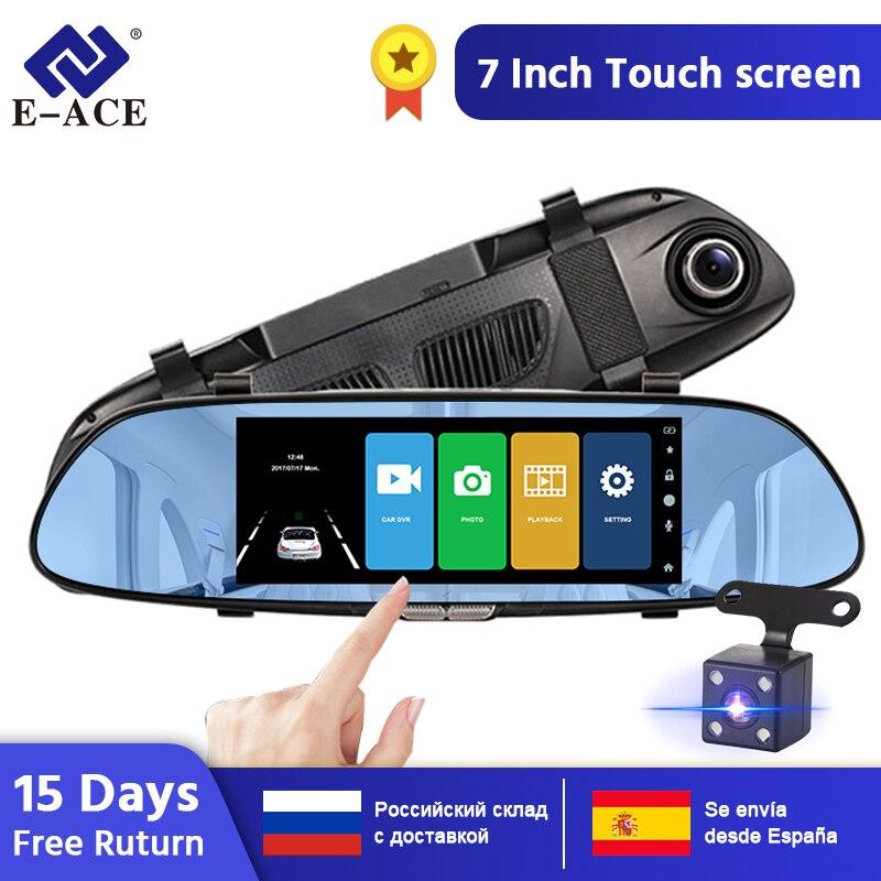 E-ACE A01 voiture DVR Full HD 1080P 7 pouces IPS tactile enregistreur vidéo caméra double objectif avec caméra de vue arrière