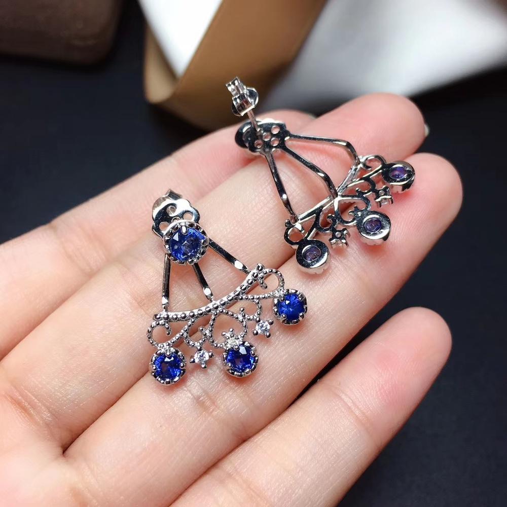 Nouveau drôle femmes boucles d'oreilles en argent bleu saphir boucles d'oreilles en argent sterling 925 bijoux réel naturel gemme anniversaire nouvel an cadeau