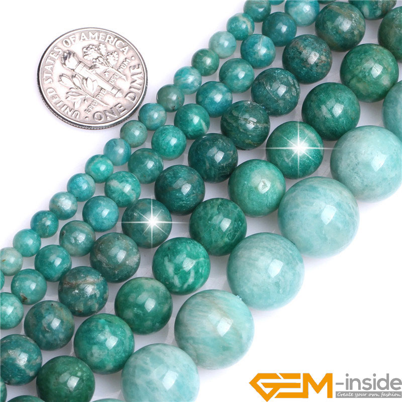 "Beautiful 10mm Natural Russian Amazonite Gemstone Round Loose Beads 15/"""