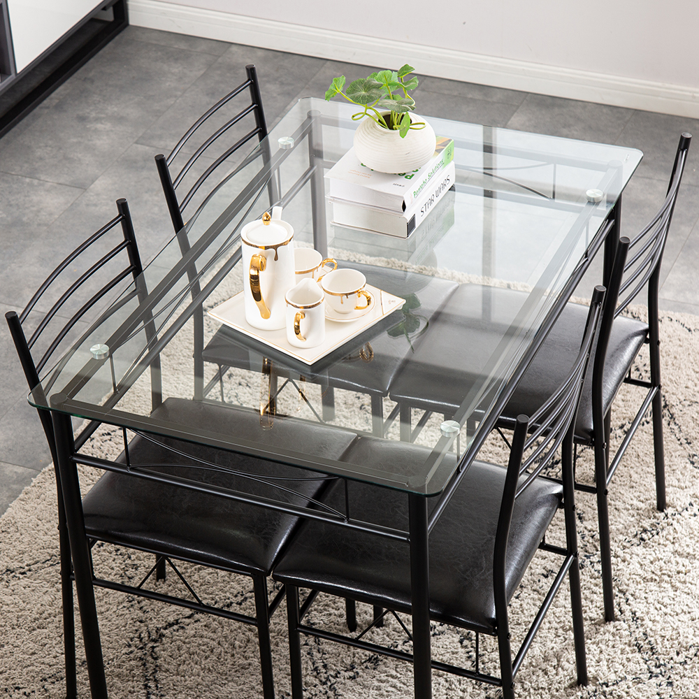 US Warehouse】[9 x 9 x 9cm] Iron Glass Dining Table and Chairs ...