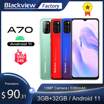 Blackview A70 Smartphone 3GB+32GB Octa Core Android 11 Cellphone 13MP Rear Camera 6.517'' Waterdrop 5380mAh 4G LTE Mobile Phone 1