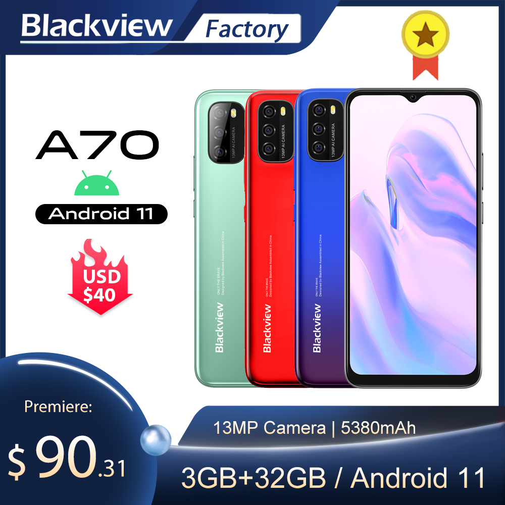 Blackview A70 смартфон 3 ГБ + 32 ГБ Octa Core Android 11 мобильного телефона 13MP сзади Камера 6,517 ''в виде капли воды, 5380 мА/ч, 4G, LTE, мобильный телефон