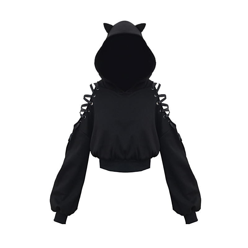 Punk Gothic Girls Black Hoodies Hollow Out Long Sleeve Hooded Sweatshirt Casual Pullover Hollow Out Lace Up Cute Cat Ear Hoodies