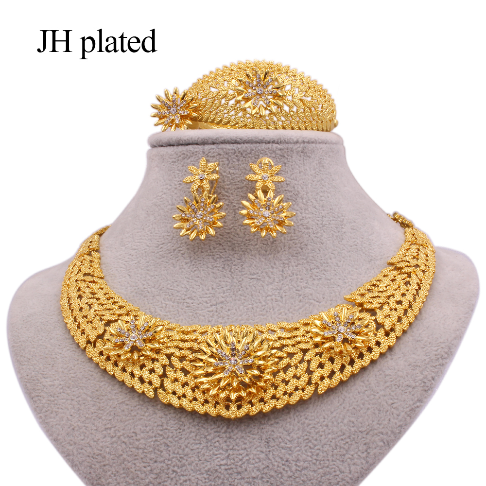 Jewelry sets Ethiopia 24K Gold for women jewellery African wedding gifts Dubai bridal party Bracelet Necklace earrings ring set