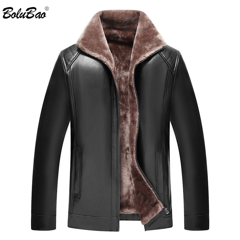 BOLUBAO Brand Men's Leather Jacket Coats Male PU Motorcycle Fur Collar High Quality Plush Lining Warm Leather Jackets Men
