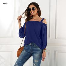 New Women Chiffon Blouse Top Off Shoulder Strap Shirts Lady Chic Holiday Blouses Loose Long Sleeve Loose Shirt Boho Beach Blouse