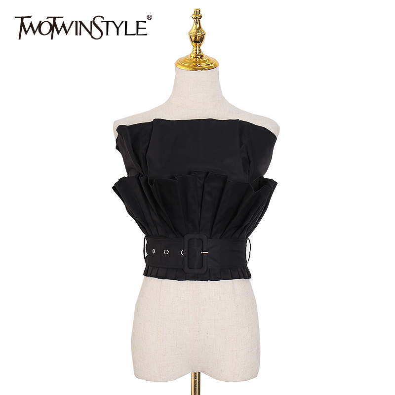 TWOTWINSTYLE Patchwork Ruffle Shirts For Women Slash Neck Strapless Sleeveless Sashes Shirt Female 2020 Fashion New Clothing