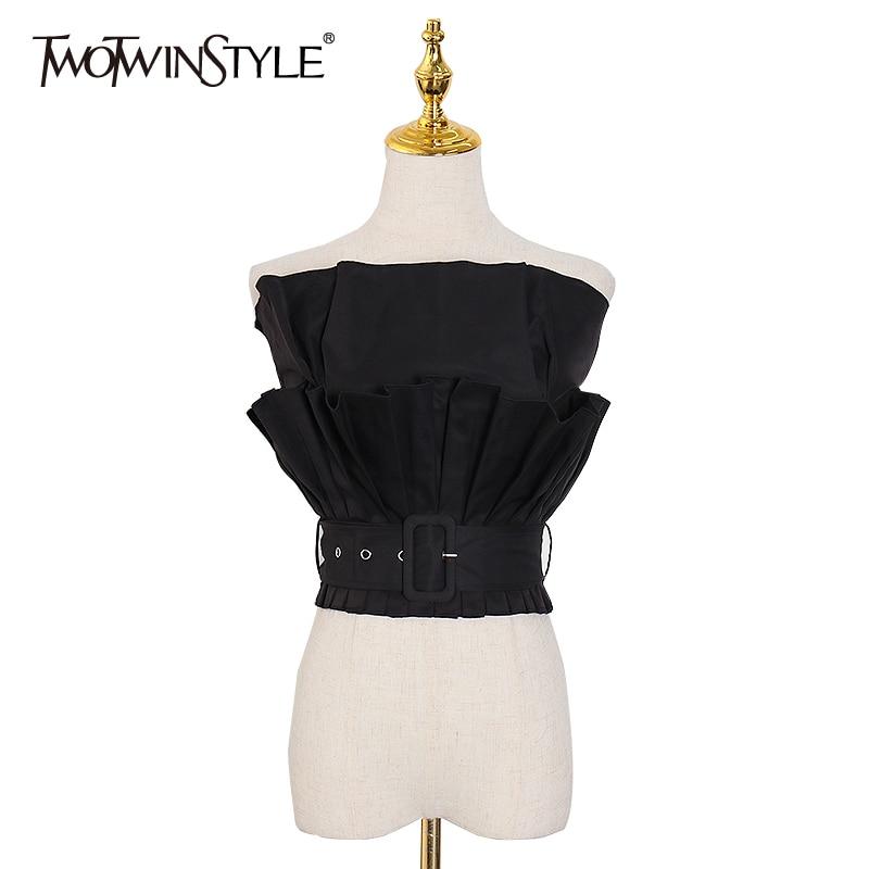 TWOTWINSTYLE Patchwork Ruffle Shirts For Women Slash Neck Strapless Sleeveless Sashes Shirt Female 2020 Fashion New Clothing