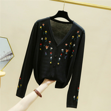 JVCAKE oversized kitted women cardigans summer long sleeve floral Embroidery  thin sweaters black