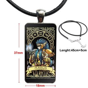 Image 5 - Cartoon Saint Seiya Gold Saints Card For ValentineS Day Gift Glass Cabochon Pendant Necklace Rectangle Fashion Necklace