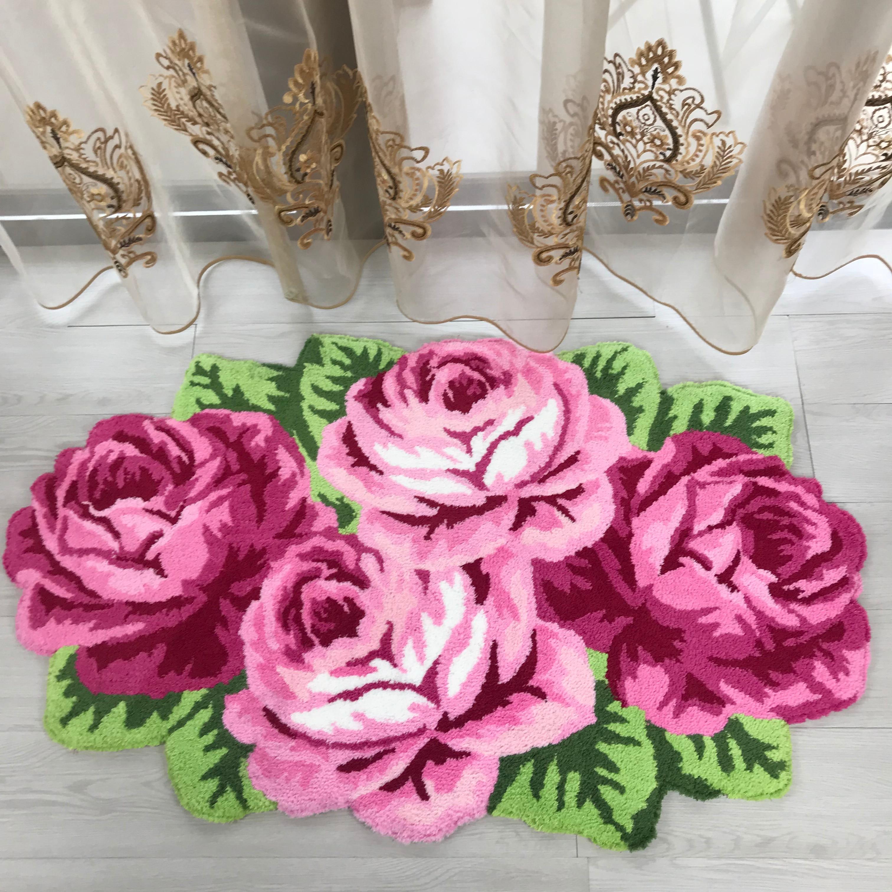 new arrival rose flocking rug flocking carpet for living room pink red purple