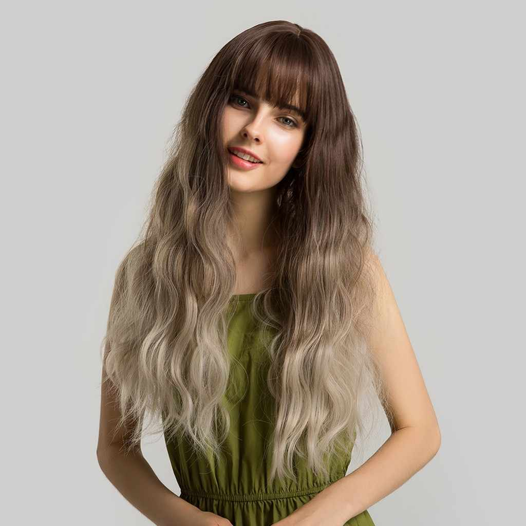Fashion Women Full Hair Wig With Bangs Long Straight Hair Wigs Natural Wave Remy Human Wigs