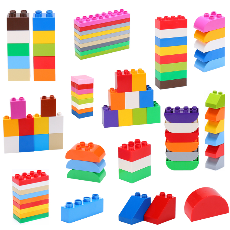 DIY Large Building Blocks Bricks Plastic Accessories Parts Compatible Duploed Enlighten Educational Children Toys For Kids Gift