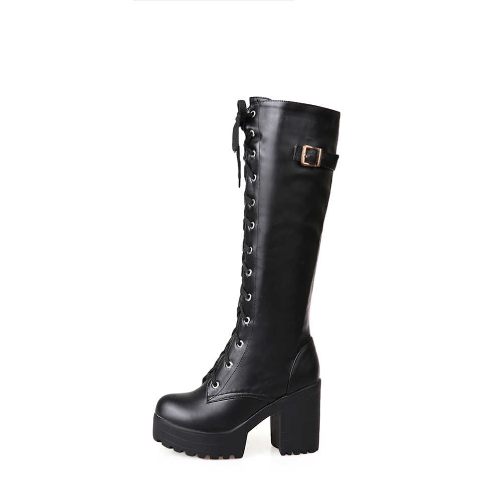 BONJOMARISA 34-43 Elegant สุภาพสตรีแพลตฟอร์มกลางลูกวัวรองเท้าผู้หญิง 2019 Chunky รองเท้าส้นสูงวันที่รองเท้าผู้หญิง