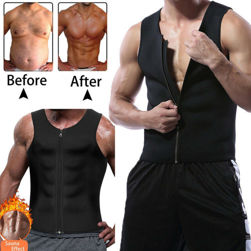 S-3XL Men's Slimming Neoprene Vest Sweat Shirt Body Shaper Waist Trainer Corset Sleeveless Men Top Shaper Tank Plus Size Male