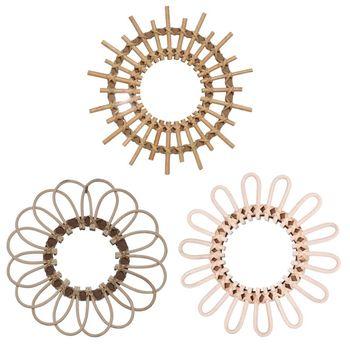 Rattanowe okrągłe lustro do makijażu innowacyjna artystyczna dekoracja opatrunek łazienka ścienne wiszące lustra rzemiosło tanie i dobre opinie CN (pochodzenie) flower Wicker Glass