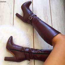 Party-Shoes Boots High-Heels Olomm Women Square Pointed-Toe Knee Us-Size Wine Plus Gorgeous