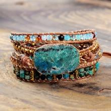 Natural Chrysocolla Women Bracelets Handmade 5 Strands Wrap Bracelets Mixed Stones Beaded Genuine Leather Bracelet Girls Gifts