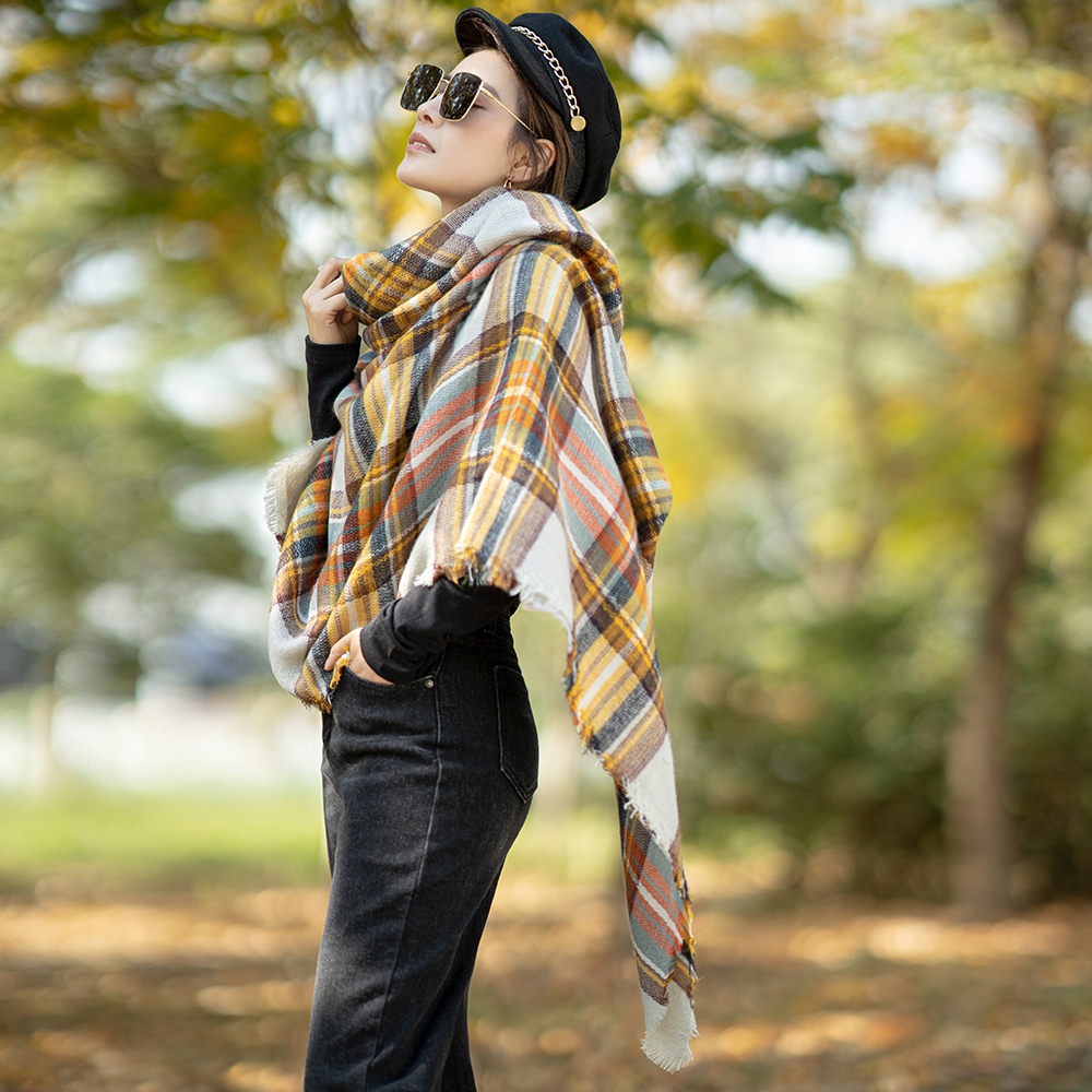Hot Women Winter Cashmere Scarf Yellow Fashion Ladies Warm Pashmina Wrap Cashmere Luxury Brand Shawl Winter Plaid Blanket Scarf