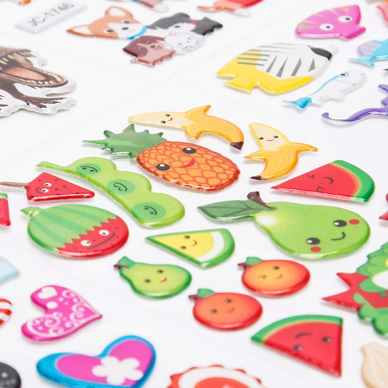 3D Stickers for Kids Toddlers 20/8 Different Sheets 3D Puffy Bulk Sticker Cartoon Education Classic Toy Children Boys Girl Gifts 3