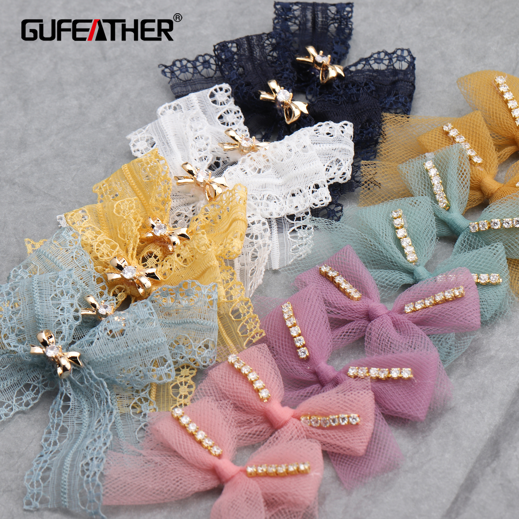 GUFEATHER M649,jewelry Making,diy Pendant,bow-knot Shape,hand Made Accessories,zircon,copper Metal,mesh,diy Earrings,10pcs/lot
