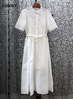 Top Quality Cotton Dress 2020 Summer Style Women Lace Patchwork Short Sleeve Mid Calf Length White Black Long Shirt Dress Work