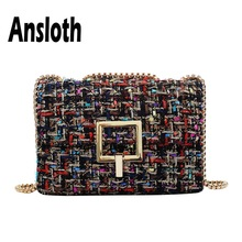Ansloth Wool Crossbody Bag Lady Autumn Winter Women Small Square Fashion Chain Messenger Female Shoulder HPS715