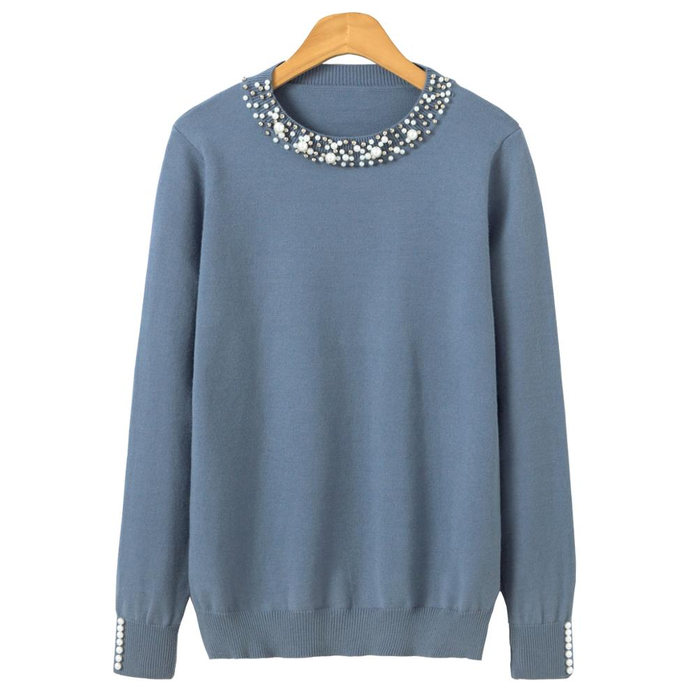 Pearl Winter Knitted Sweater Women Long Sleeve Loose Elegant Pullover Female Soft Warm Autumn Casual Jumper(China)