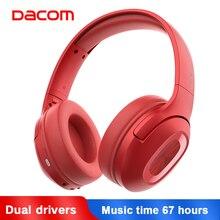 Dacom Dual Drivers Sobre fones de Ouvido Com Cancelamento de Ruído Fones De Ouvido Sem Fio Super Bass Com Fio Móvel Fone De Ouvido Bluetooth 5.0 Fone De Ouvido Microfone