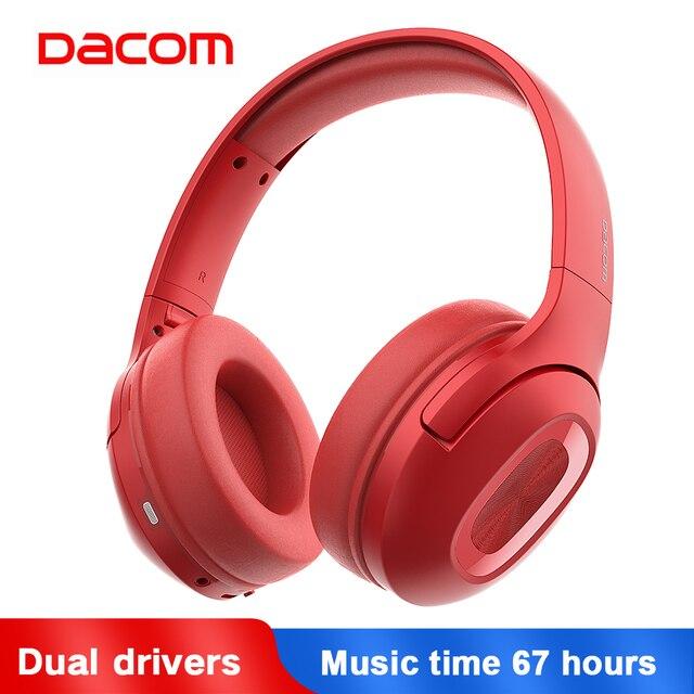 Dacom כפולה נהגים מעל אוזן רעש ביטול נייד אוזניות סופר בס אלחוטי Wired אוזניות 5.0 Bluetooth אוזניות מיקרופון