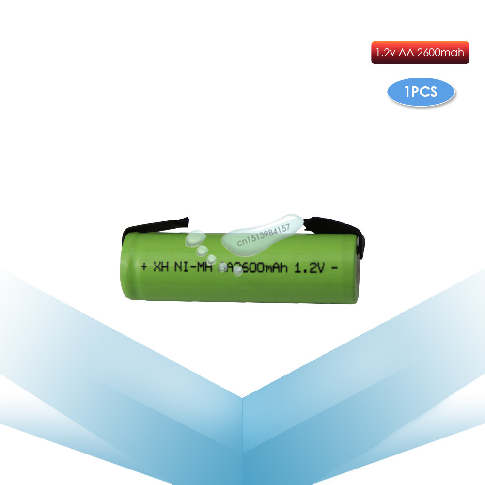 kpay 1pcs 1.2V AA 2600mah 2A ni-mh nimh rechargeable <font><b>battery</b></font> cell green shell with tabs pins Braun electric <font><b>shaver</b></font> toothbrush image