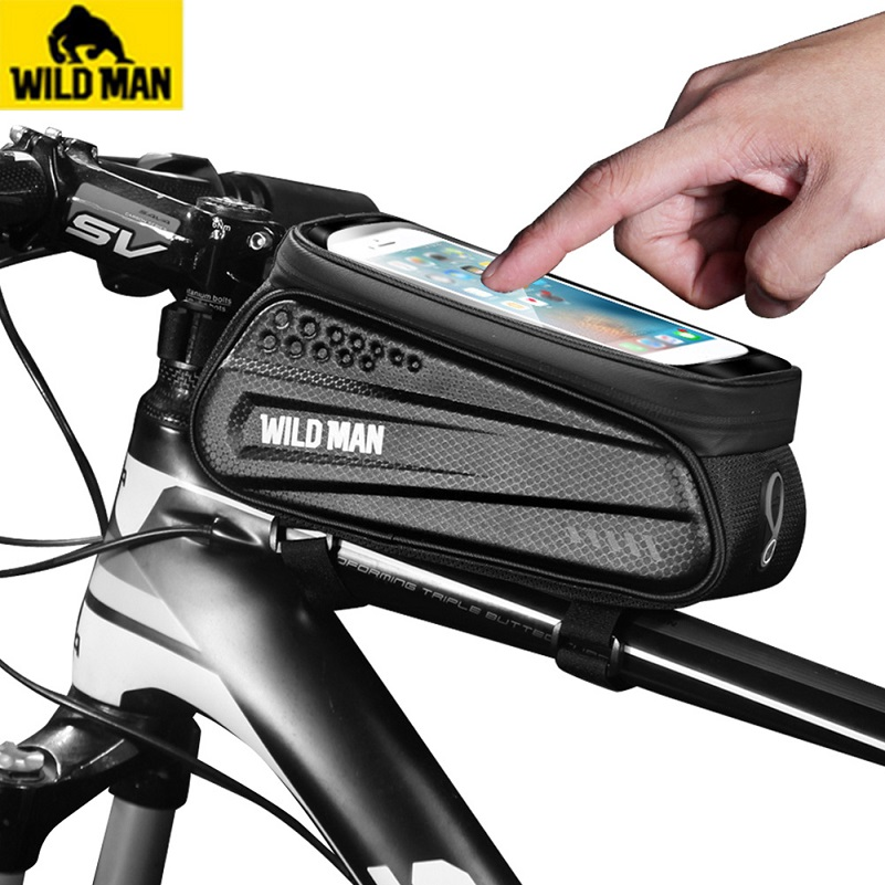WILD MAN Touch Screen Bicycle Top Tube Saddle Bag Exquisite Waterproof MTB <font><b>Bike</b></font> Phone <font><b>Case</b></font> Necessary Outdoor Cycling Gadgets image