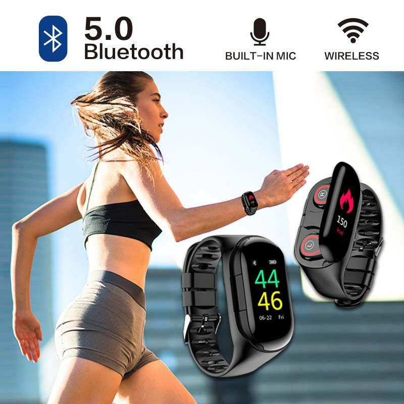 Qcy M1 Pro Reloj con Audifonos Inalambrico Bluetooth 5.0 Earphone For Smart Connected Men's Watch Fone Ouvido Pulseira HiFi Man
