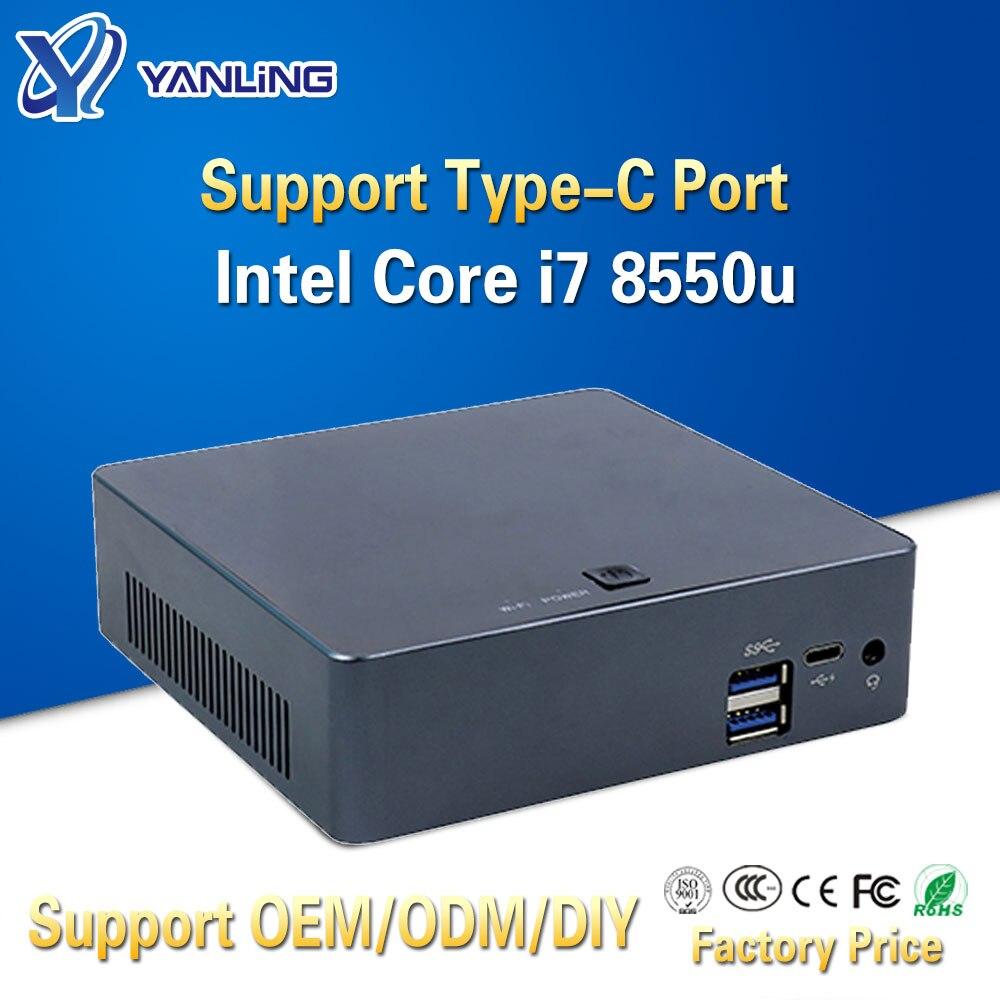 Yanling Small Home Desktop Computer 8th Gen Intel Kaby Lake I7 8550u Quad Core Portable NUC HTPC Mini PC With Type-C Port 4 USB
