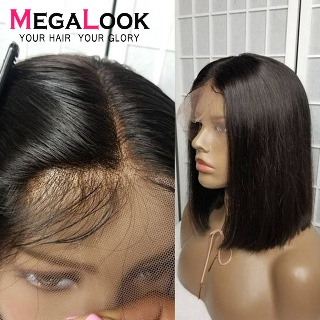Bob Wigs Short Bob Lace Front Human Hair Wigs For Black Women 210% Straight Lace Front Human Hair Wigs Remy Megalook Hair 13x4