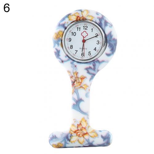 Портативный Зебра арабские печатные цифры Круглый циферблат силикон Медсестра часы Брошь Туника кармашек для часов Часы - Цвет: 6