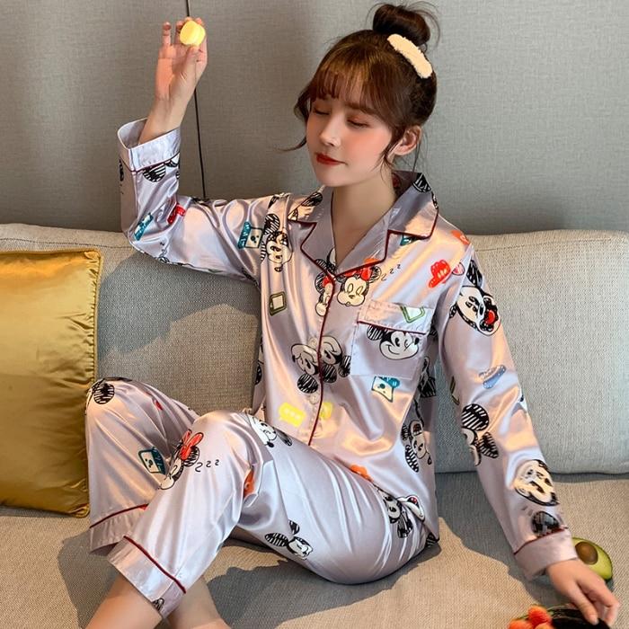 Spring Pajama Sets For Women Soft Silk Lapel Pyjamas For Girl Casual Female Pajamas Loose Comfortable Night Sleepwear