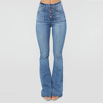 SHUJIN damskie spodnie jeansowe zapinane na guziki w połowie talii spodnie jeansowe damskie Retro spodnie damskie spodnie Plus Size spodnie z dzianiny tanie i dobre opinie COTTON Pełnej długości Osób w wieku 18-35 lat Na co dzień Zmiękczania Zipper fly Kieszenie Spodnie pochodni REGULAR