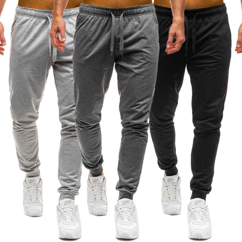 Mens Slim Fit Tracksuit Sport Gym Skinny Jogging Joggers Pants Trousers