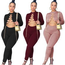 Sexy Gold Chain Bandage Jumpsuit Charming Hollow Out Bodycon Curved Bodysuit Stylish Long Sleeve Jump Suit Casual Streewear