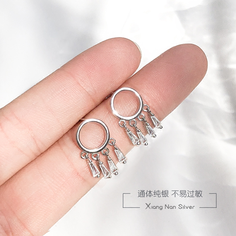 Hot Saling 925 Sterling Silver Earrings New Trendy Round Disc Tassel For Women Gifts Jewelry